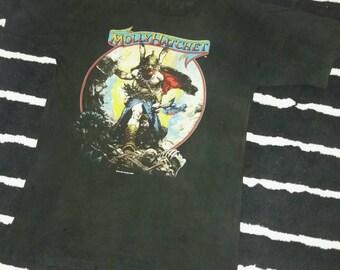 Vintage 80s Authenthic Band Member Signature Molly Hatchet Promo Albums T shirt. Large size