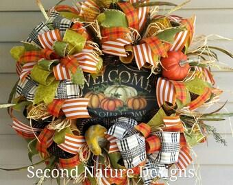 Ready to Ship! Fall Floral Wreath / Floral Thanksgiving Wreath / Fall Welcome Wreath / Pumpkin Fall Wreath / Fall Monogram Wreath