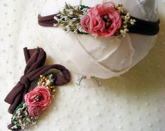 Newborn headband, Newborn flower headband, Elastic tieback, Newborn prop, Photography prop, Newborn tieback
