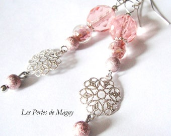 Silver and peach pink earrings