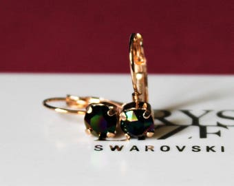 Rose Gold Plated Leverback Earrings made with 6mm Rainbow Dark Swarovski Crystal Elements by LadyCJewellery