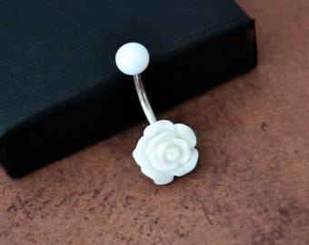 Little White Flower Belly Button Ring, Rose Belly Button Ring, Short Navel Ring, Surgical Steel 14G 14gauge Belly Barbell