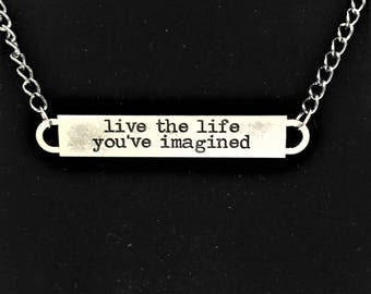 Live the Life You've Imagined Bar Necklace \\ Gunmetal Jewelry \\ Gunmetal Chain