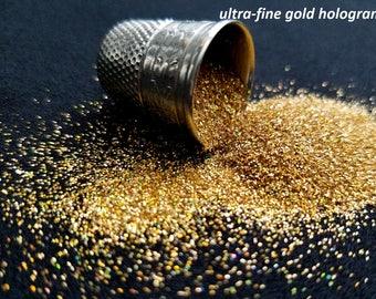 glitter - gold hologram ultra-fine polyester