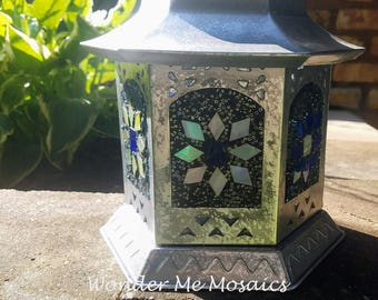 Stained Glass Mosaic Lantern - Blue & Yellow Starbursts