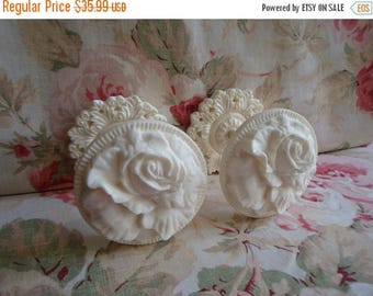 On Sale10% Shabby and Chic Cabbage Rose Curtain/Drapery Tie-Backs with Acanthus Wall Plate PAIR (Style #2)
