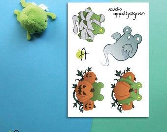 """Froggoween   Sticker sheet A7 (3x4"""")"""