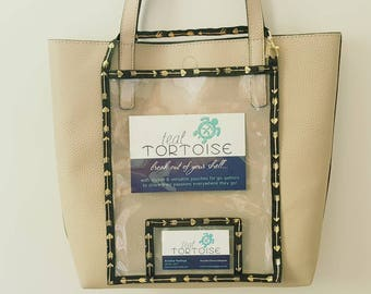 """Catalog Holder - 10""""x8"""" - Medium Catalog Holder - Clear Catalog Pouch with Business Card pocket and strap"""