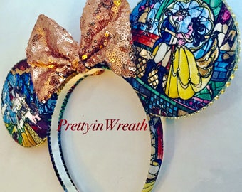 Beauty and the Beast inspired Mickey Mouse ears headband