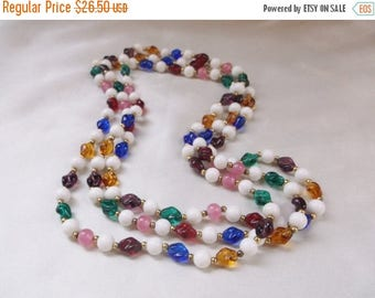 SALE Vintage Retro Multi Colored and White Milk Glass Bead Long Necklace Mothers Day Jewelry Gift