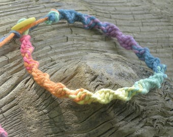 Hemp Bracelet Anklet Rainbow twist bracelet adjustable pride bracelet promise bracelet twisted hemp bracelet friendship gift ankle braclet