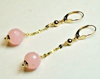 14k solid yellow gold 10mm faceted natural Rose Quartz earrings lever backs
