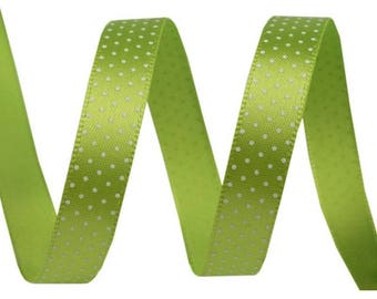 3 M Green Ribbon with white polka dots, 10 mm