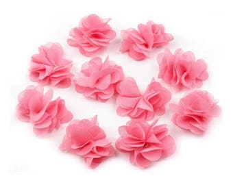 Set of 10 small flowers chiffon rose