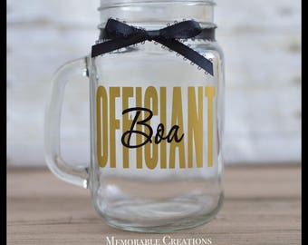 FAST SHIPPING-Personalized Mason Jar Gift for Wedding Officiant
