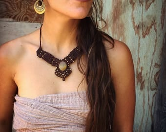 Tiger Eye MACRAME NECKLACE- adjustable macrame necklace, ethnic necklace, boho jewelry, crystal necklace, tribal Macrame Necklace