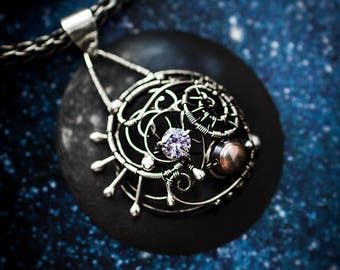 Silver jewelry jewel wire wrap wrapped gift for woman girlfriend space fiction alien astronomy star style black pearl cubic zirconiа pendant