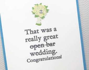 Great Open Bar Wedding card