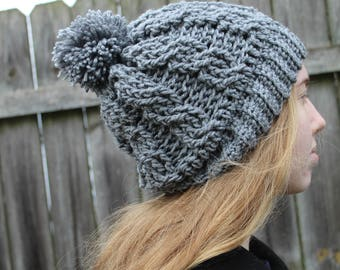 RTS Beanie Hat, Grey Cable Slouchy Beanie, Ready to Ship, Crochet Cabled Handmade Pompom Hat, Gray Cableknit Knit Hat with pom pom
