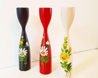 3 Scandinavian wooden candle holders 1970s handpainted
