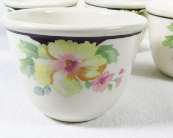 Vintage Hotoven Harker pottery chinaware set of 4 custard cups