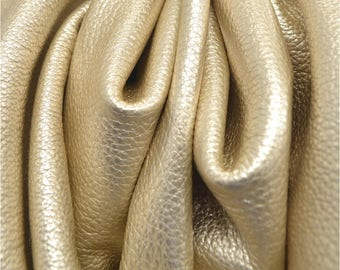"Champagne Bubbles Metallic ""Vegas"" Leather Cow Hide 4"" x 6"" Pre-Cut 3 ounces grainy TA-29679 (Sec. 8,Shelf 6,D,Box 1)"