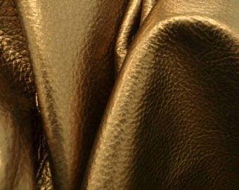 "MGM Grand Bronze Metallic ""Vegas"" Leather Cow Hide 12"" x 12"" Pre-Cut  2 1/2-3 ounces TA-60053 (Sec. 8,Shelf 4,B)"