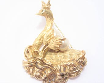 Signed Erwin Pearl Vintage Swan Brooch Figural Pin