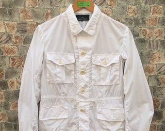 COMME DES GARCONS Shirt Medium  Comme Des Women Japan Designer Junya Watanabe Four Pocket Yohji Comme Des White Button Down Shirt Size M