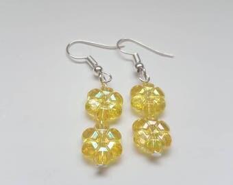 Yellow flower earrings, flower earrings, floral earrings, kids earrings, long dangly earrings, kids yellow earrings, christmas earrings,