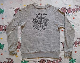 Vintage 70's City Of London pullover Sweatshirt, size Small punk seditionaries Thrashed