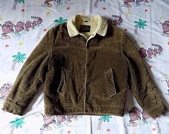 Vintage 60's Sears Oakbrook Corduroy Sherpa Jacket, size Medium Oakbrook Sportswear