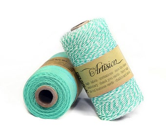 Caribbean blue and White bakers twine 240 yards 4 ply made in USA