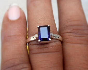 Iolite Ring baguette stone Emerald Cut Iolite Ring Sterling silver ring Blue Iolite Stone Stacking Ring Birthstone Gifts Iolite jewelry