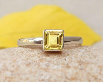 Citrine Sterling Silver Ring Tiny Band Citrine Ring Citrine Square Ring Anniversary Gift November Birthstone bezel set ring 4 5 6 7 8 9 10