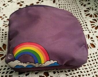 80's Roger Gimbel Purple Accessories Bag Rainbow