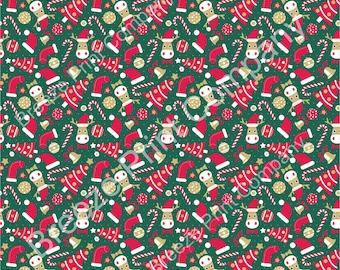 Christmas tree, moose, stocking, candy cane craft vinyl sheet, HTV, adhesive vinyl winter holiday printed vinyl red, green and tan HTV1387