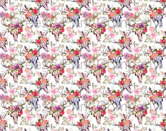 Cow skull and flower pattern printed craft vinyl sheet - HTV or Adhesive Vinyl -  watercolor floral southwest desert HTVWC27