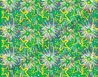 HTV Mardi Gras green, yellow and purple fireworks pattern craft vinyl sheet - HTV or Adhesive Vinyl -  HTV2260
