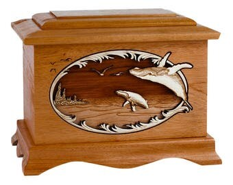Mahogany Whale Ambassador Wood Cremation Urn