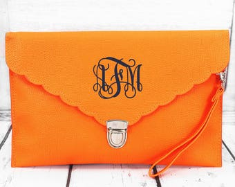 Monogrammed Orange Scalloped Envelope Clutch