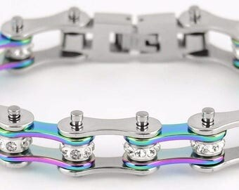 Womens Stainless Steel Silver Rainbow Crystal Bike Chain Bracelet USA Seller!