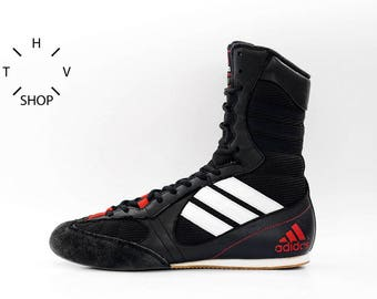 Adidas Tygun boots hi tops / OG Deadstock Trainers Sneakers / Black White Red vintage kicks / Lightweight Boxing Wrestling Combats MMA shoes