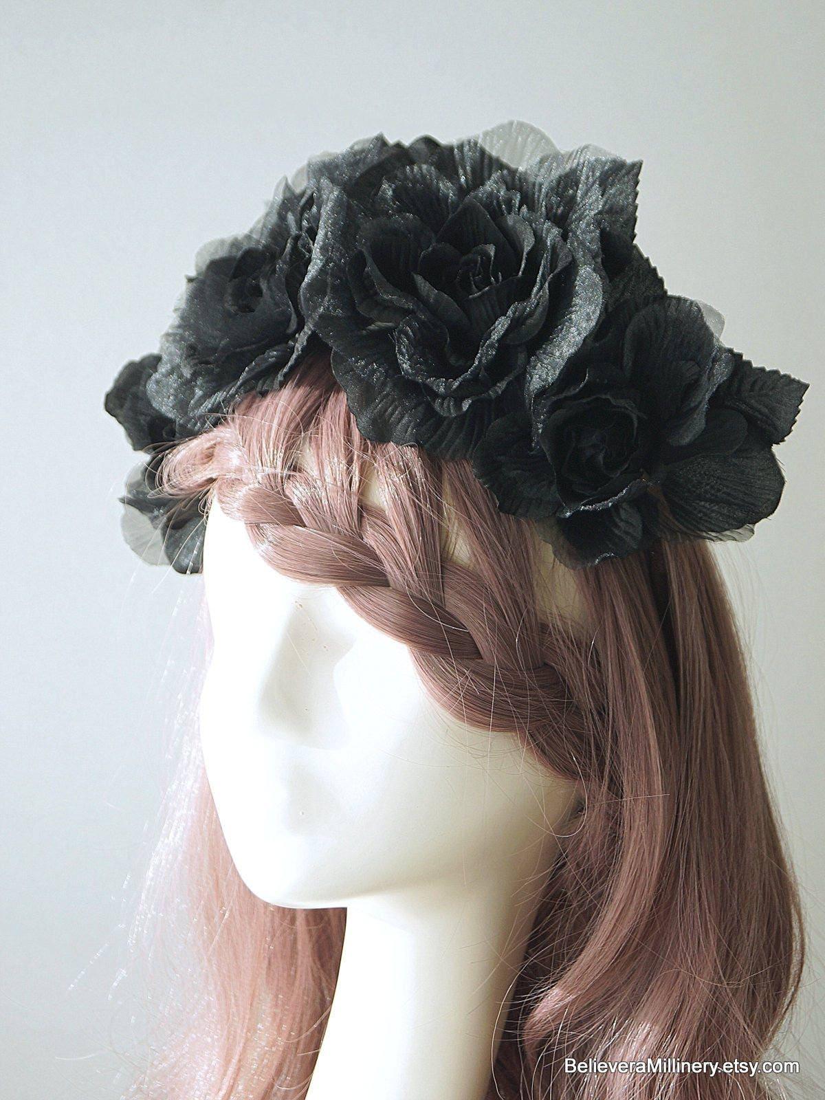 Black Silk Flowers Floral Headband Fascinator Headpiece Crown Party