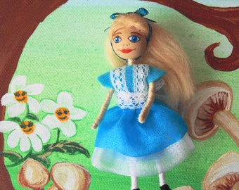 Alice in Wonderland, Miniature Doll, Collector Doll, Alice Mini Doll, Fairy Tale Doll, Storybook doll, Character Dolls, Mini Art Doll