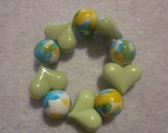 Green & Yellow Heart Bracelet