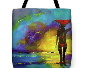 Custom Carry Bag, Custom tote bag, custom purse. painting