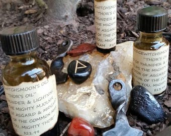Mighty Thor's Oil...3 Sizes Available. WitchCrafted w/Thor's Oversight. Use For Rituals & Ceremonies. Use Where You Need Thor's Strength.