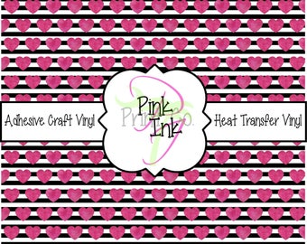Valentine's Printed Vinyl, Heart Patterned Adhesive Vinyl and Heat Transfer Vinyl in pattern 1008