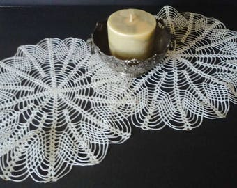 Vintage Large White Hand Crochet Doilies Set Of Two